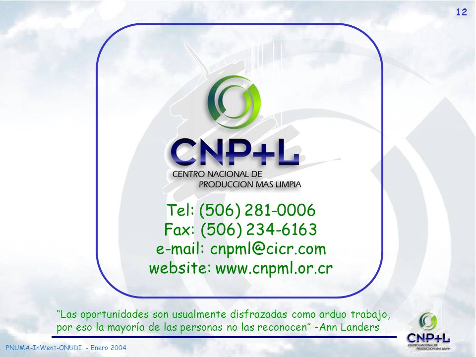 e-mail: cnpml@cicr.com website: www.cnpml.or.cr