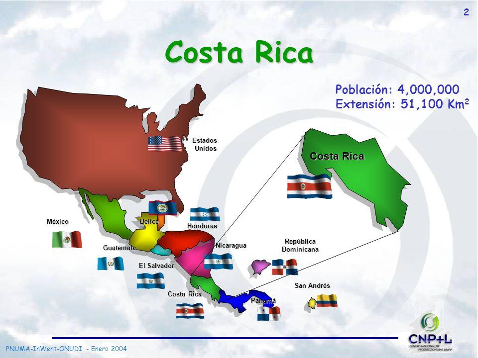 Costa Rica Población: 4,000,000 Extensión: 51,100 Km2 Costa Rica