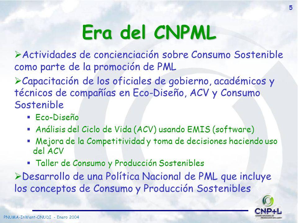 Era del CNPML Actividades de concienciación sobre Consumo Sostenible como parte de la promoción de PML.