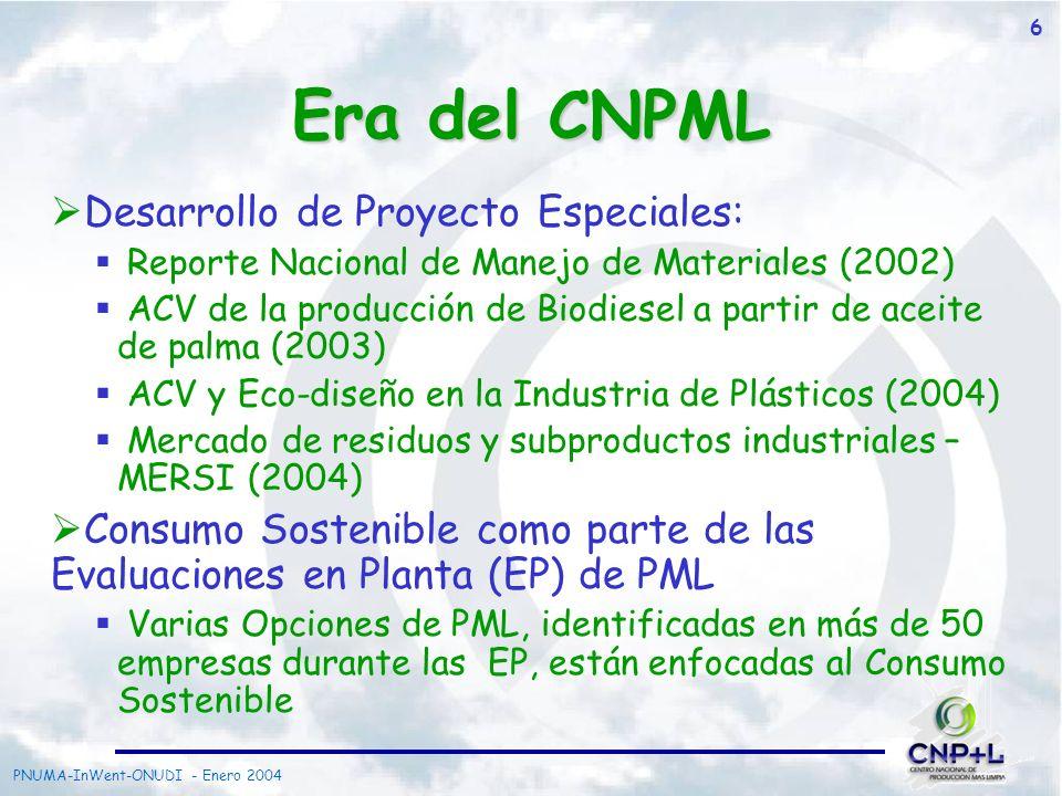 Era del CNPML Desarrollo de Proyecto Especiales: