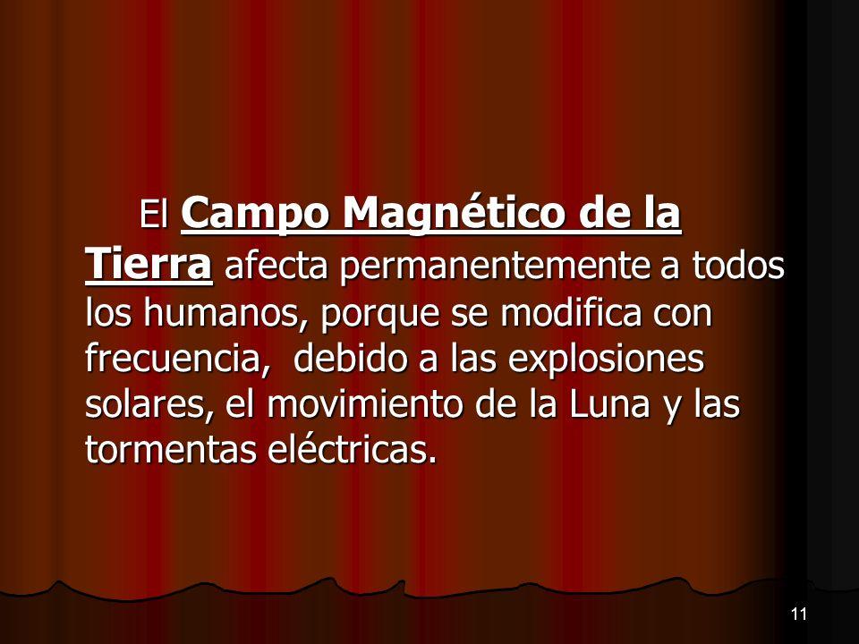 El Campo Magnético de la Tierra afecta permanentemente a todos los humanos, porque se modifica con frecuencia, debido a las explosiones solares, el movimiento de la Luna y las tormentas eléctricas.