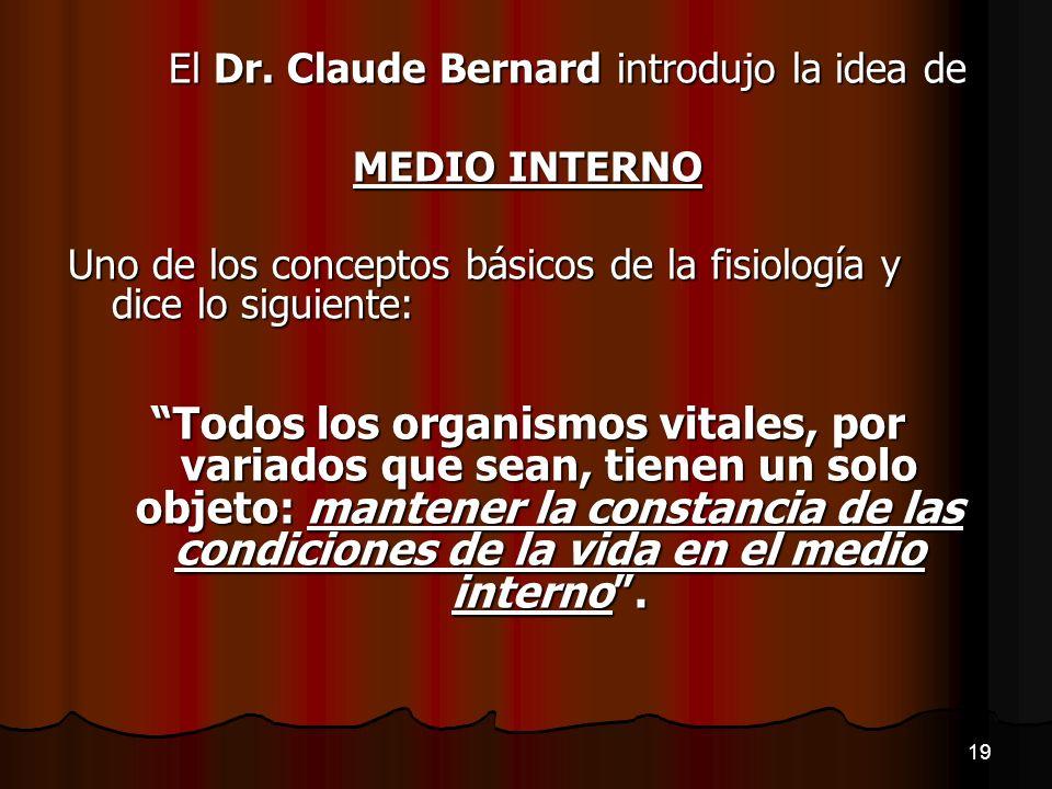 El Dr. Claude Bernard introdujo la idea de