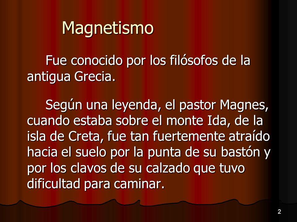 Magnetismo Fue conocido por los filósofos de la antigua Grecia.
