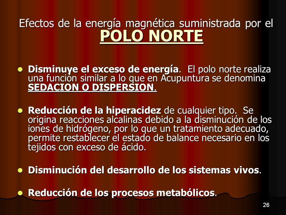 Efectos de la energía magnética suministrada por el POLO NORTE