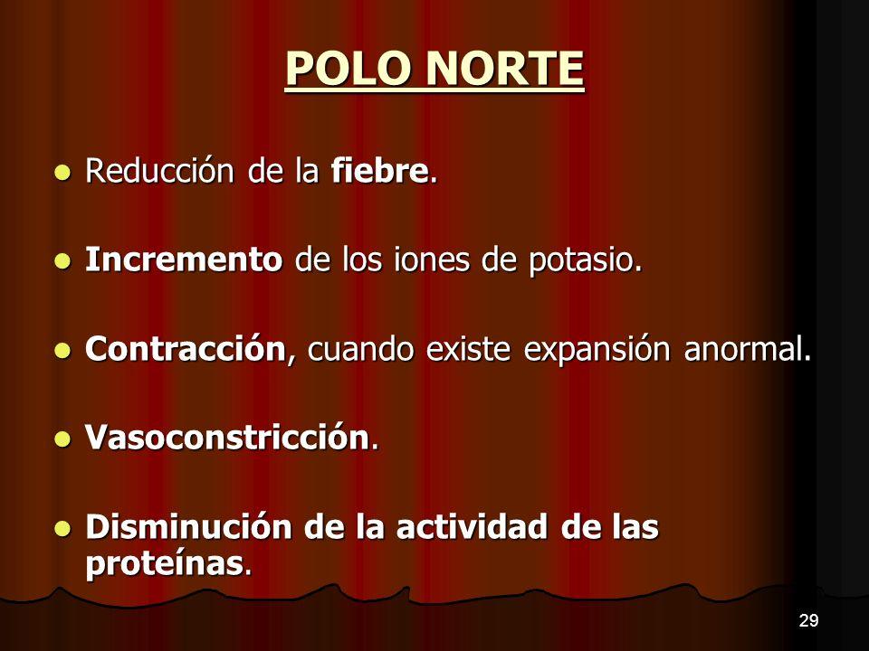 POLO NORTE Reducción de la fiebre. Incremento de los iones de potasio.