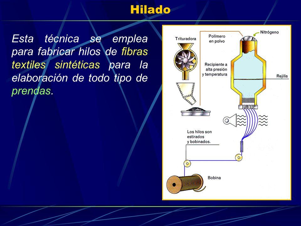 Hilado Esta técnica se emplea para fabricar hilos de fibras textiles sintéticas para la elaboración de todo tipo de prendas.