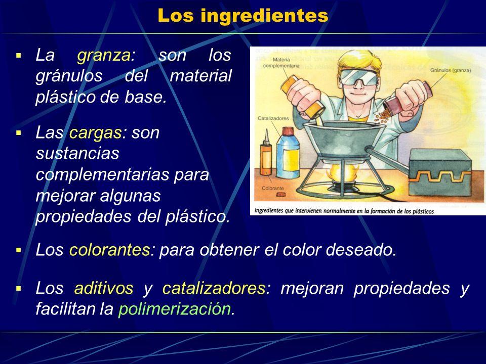 Los ingredientes La granza: son los gránulos del material plástico de base.
