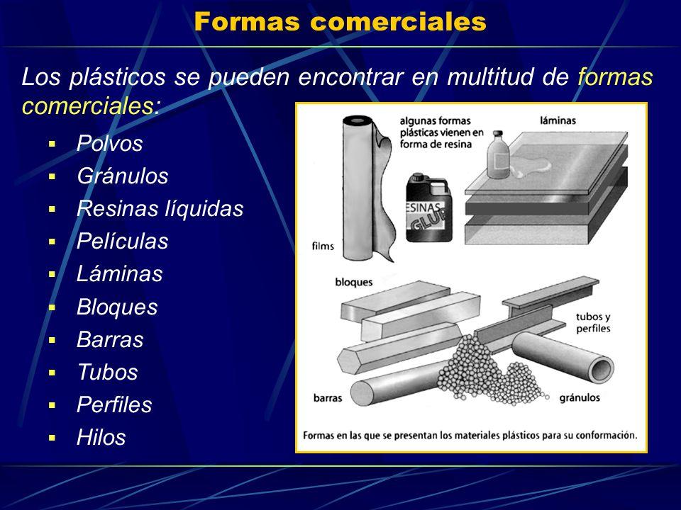 Formas comerciales Los plásticos se pueden encontrar en multitud de formas comerciales: Polvos. Gránulos.