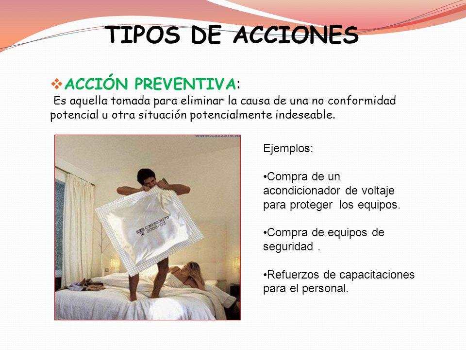 TIPOS DE ACCIONES ACCIÓN PREVENTIVA: