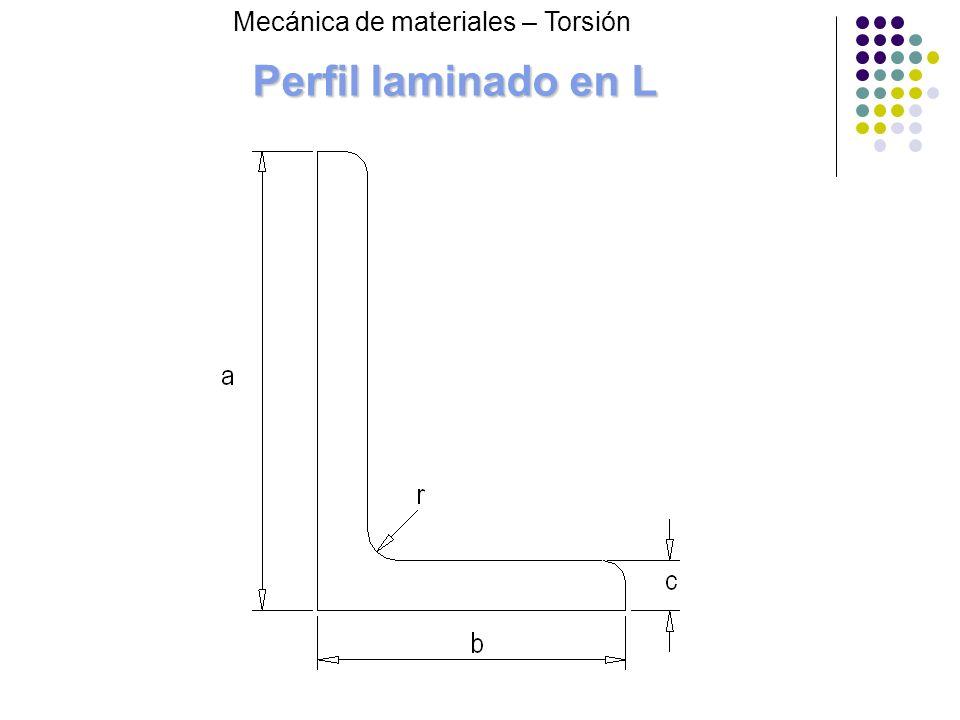 Perfil laminado en L Mecánica de materiales – Torsión