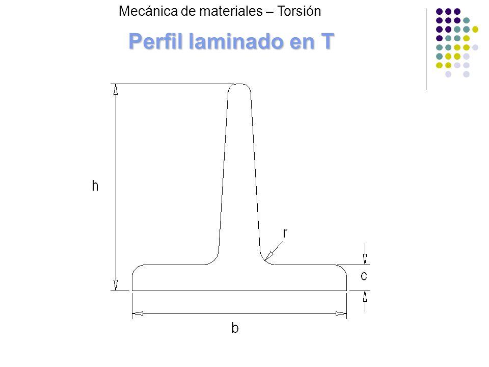 Perfil laminado en T Mecánica de materiales – Torsión