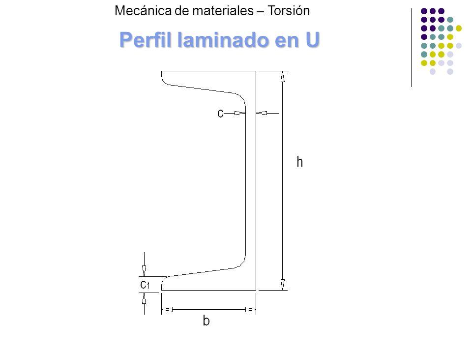 Perfil laminado en U Mecánica de materiales – Torsión