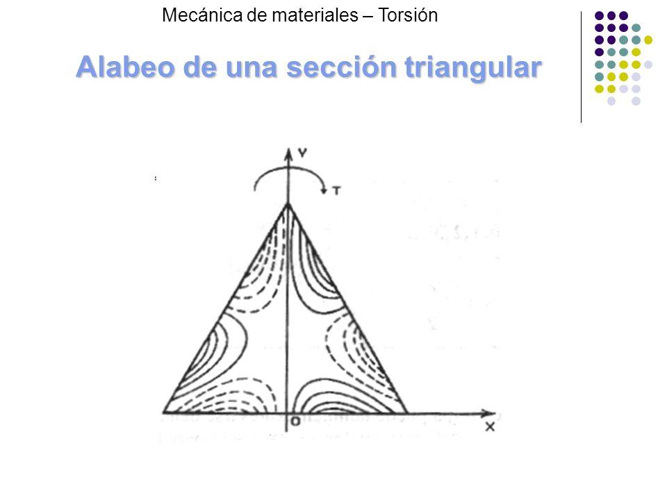 Alabeo de una sección triangular