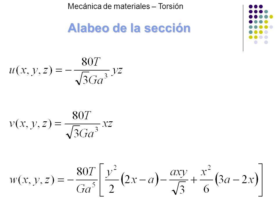 Alabeo de la sección Mecánica de materiales – Torsión