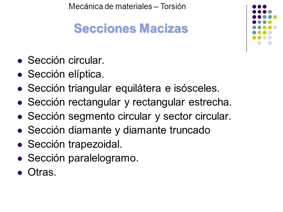 Secciones Macizas Sección circular. Sección elíptica.