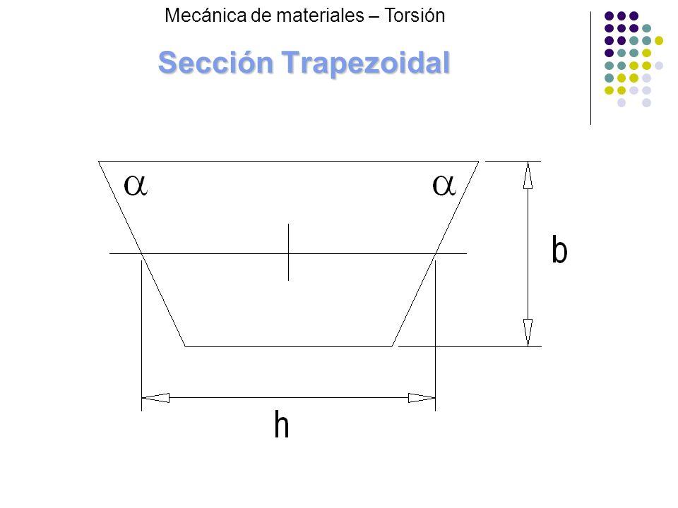 Sección Trapezoidal Mecánica de materiales – Torsión