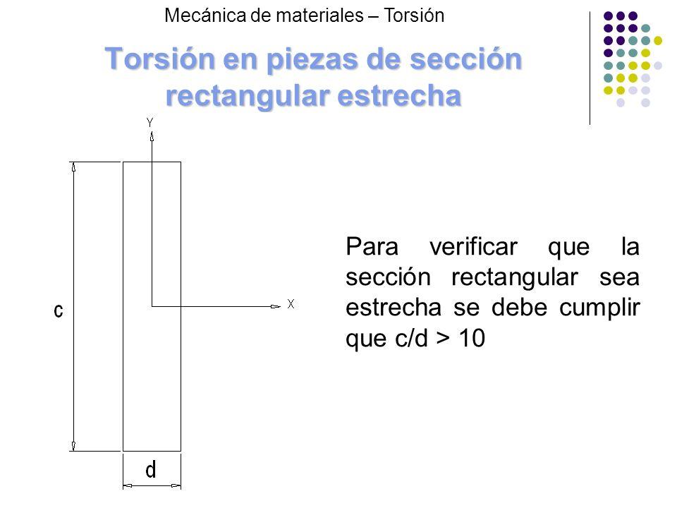 Torsión en piezas de sección rectangular estrecha