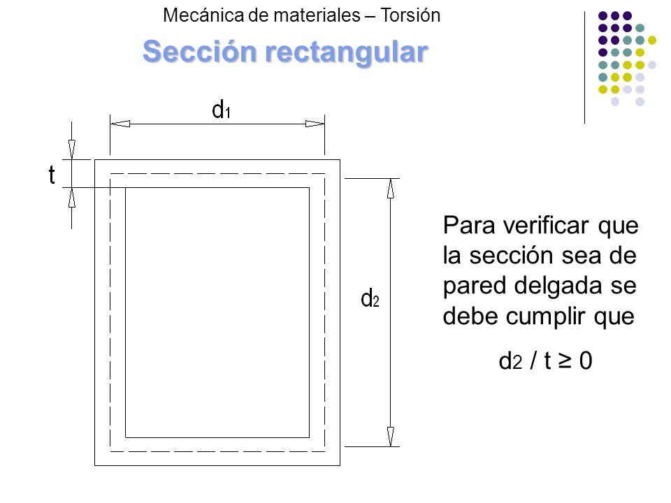 Sección rectangular Mecánica de materiales – Torsión. Para verificar que la sección sea de pared delgada se debe cumplir que.