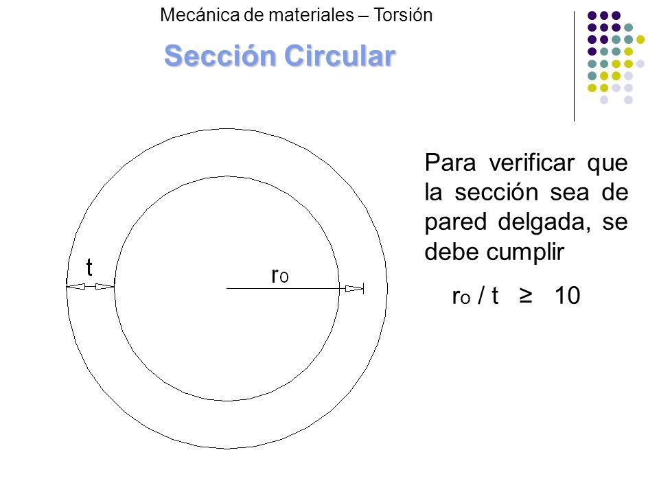 Sección Circular Mecánica de materiales – Torsión. Para verificar que la sección sea de pared delgada, se debe cumplir.