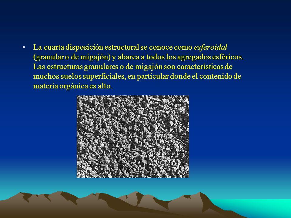 La cuarta disposición estructural se conoce como esferoidal (granular o de migajón) y abarca a todos los agregados esféricos.