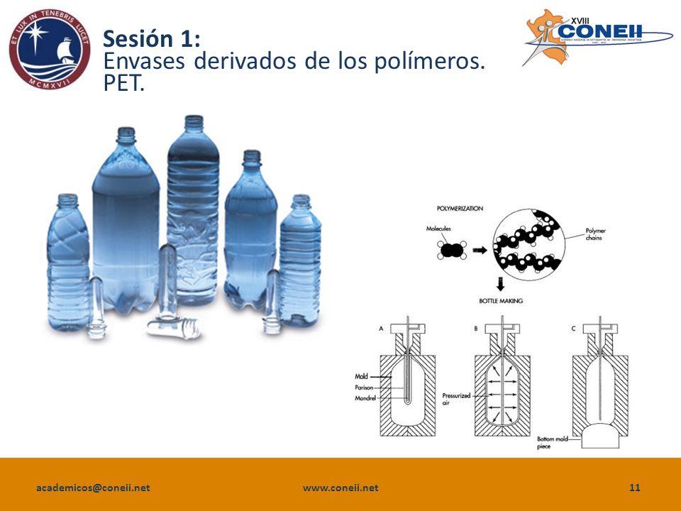 Sesión 1: Envases derivados de los polímeros. PET.
