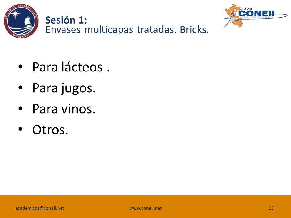 Sesión 1: Envases multicapas tratadas. Bricks.