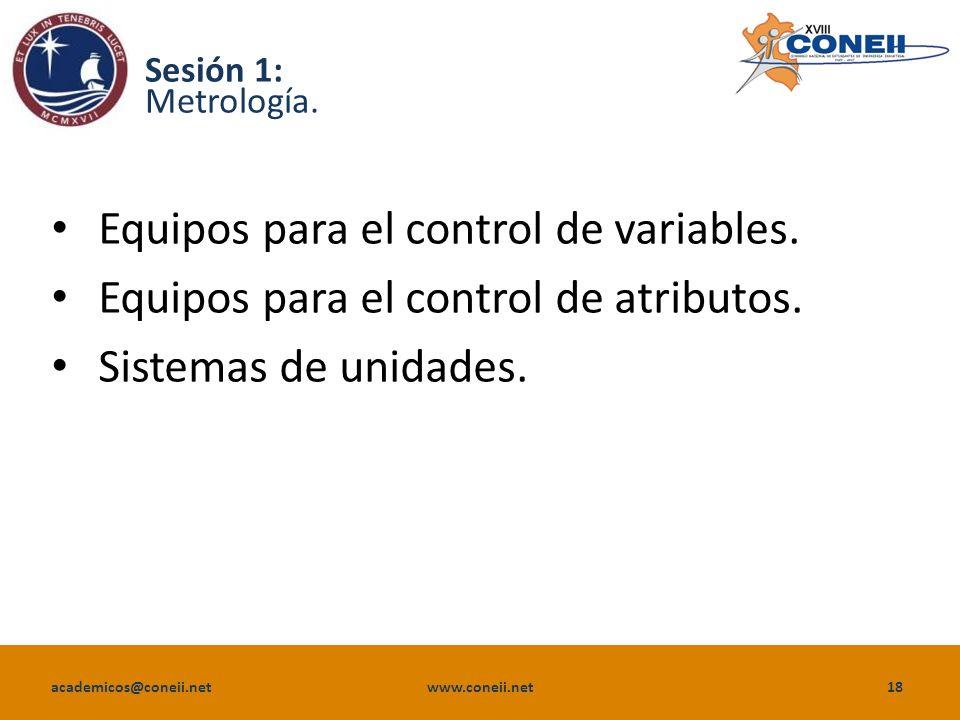 Equipos para el control de variables.