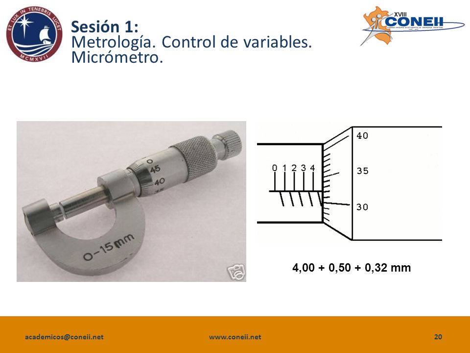 Sesión 1: Metrología. Control de variables. Micrómetro.