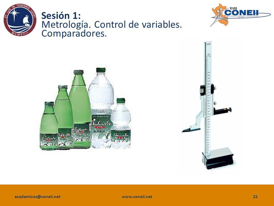 Sesión 1: Metrología. Control de variables. Comparadores.