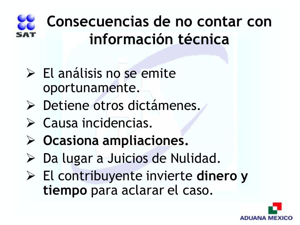 Consecuencias de no contar con información técnica
