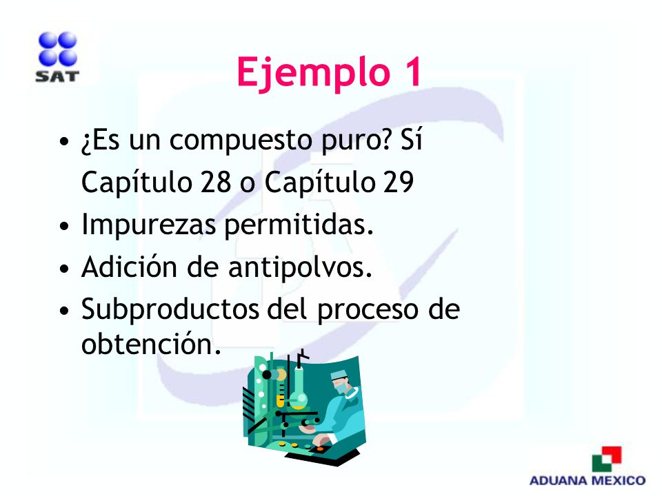 Ejemplo 1 ¿Es un compuesto puro Sí Capítulo 28 o Capítulo 29