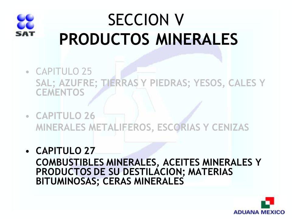 SECCION V PRODUCTOS MINERALES