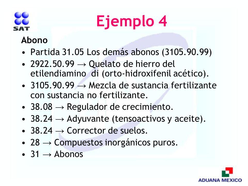 Ejemplo 4 Abono Partida 31.05 Los demás abonos (3105.90.99)
