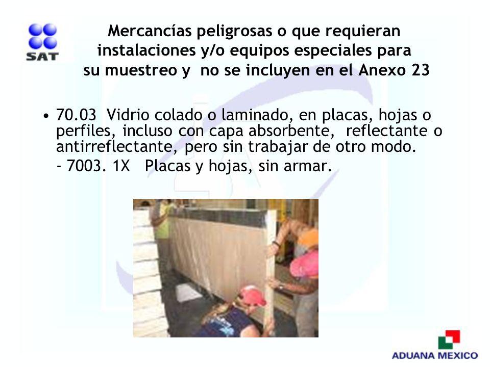 Mercancías peligrosas o que requieran instalaciones y/o equipos especiales para su muestreo y no se incluyen en el Anexo 23