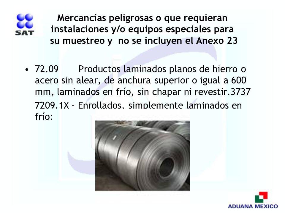 Mercancías peligrosas o que requieran instalaciones y/o equipos especiales para su muestreo y no se incluyen el Anexo 23