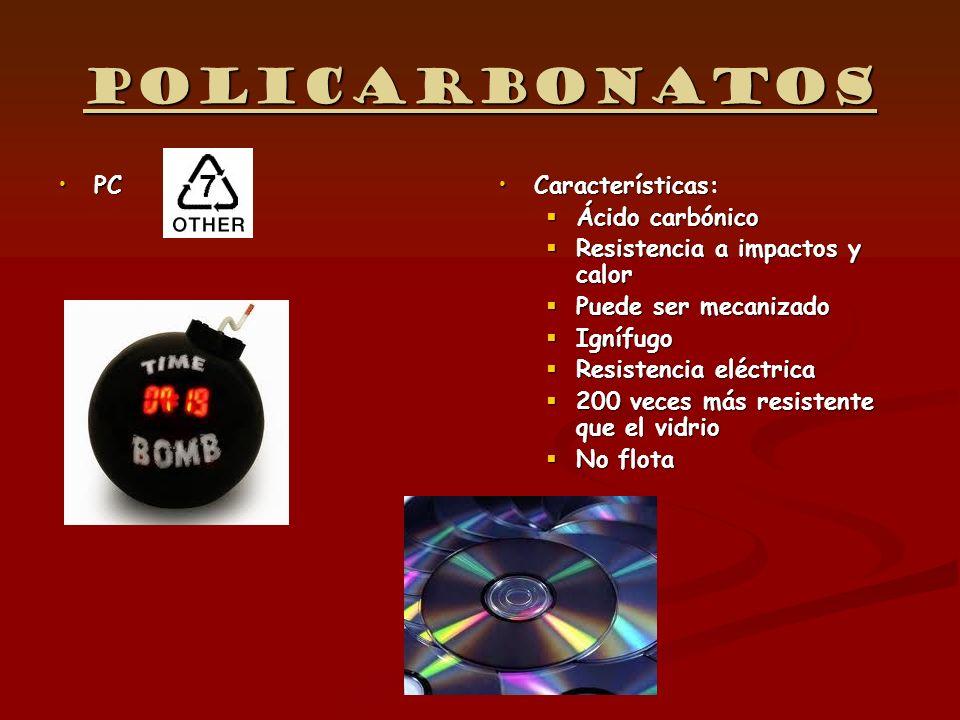 Policarbonatos PC Características: Ácido carbónico