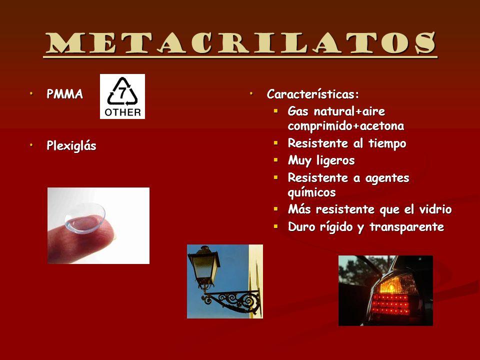 Metacrilatos PMMA Plexiglás Características:
