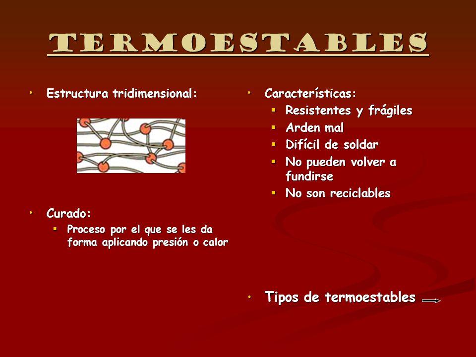 Termoestables Tipos de termoestables Estructura tridimensional:
