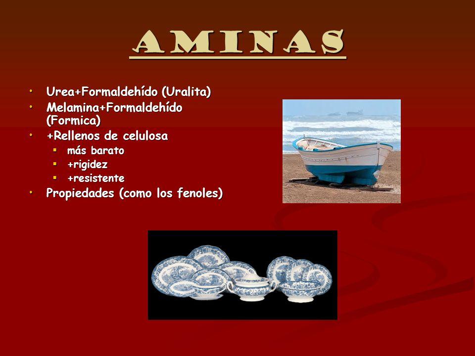 Aminas Urea+Formaldehído (Uralita) Melamina+Formaldehído (Formica)