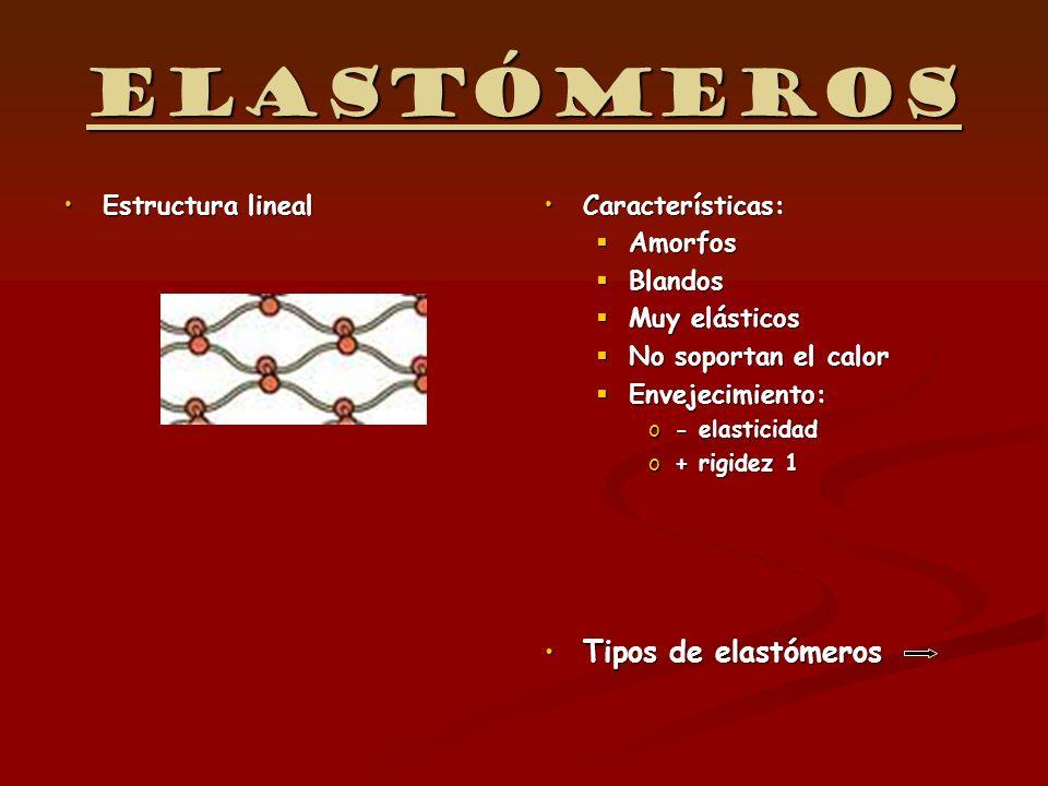 Elastómeros Tipos de elastómeros Estructura lineal Características: