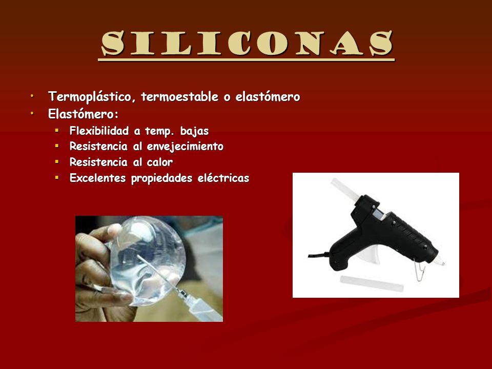 Siliconas Termoplástico, termoestable o elastómero Elastómero: