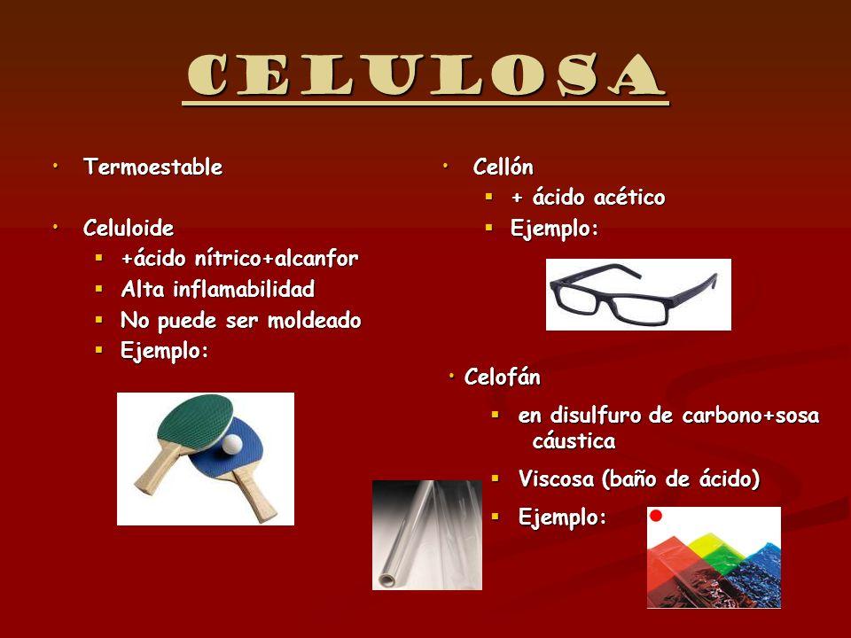Celulosa Termoestable Celuloide +ácido nítrico+alcanfor