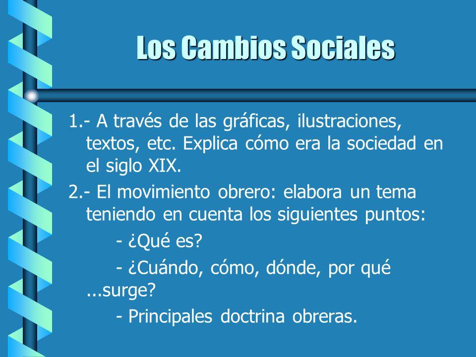 Los Cambios Sociales 1.- A través de las gráficas, ilustraciones, textos, etc. Explica cómo era la sociedad en el siglo XIX.
