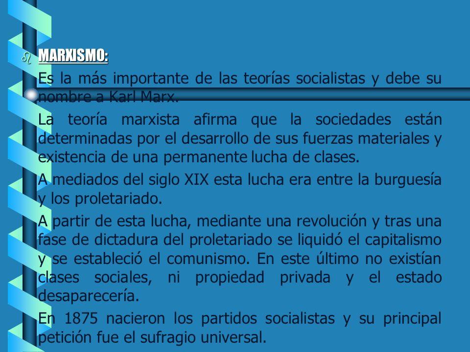 MARXISMO: Es la más importante de las teorías socialistas y debe su nombre a Karl Marx.