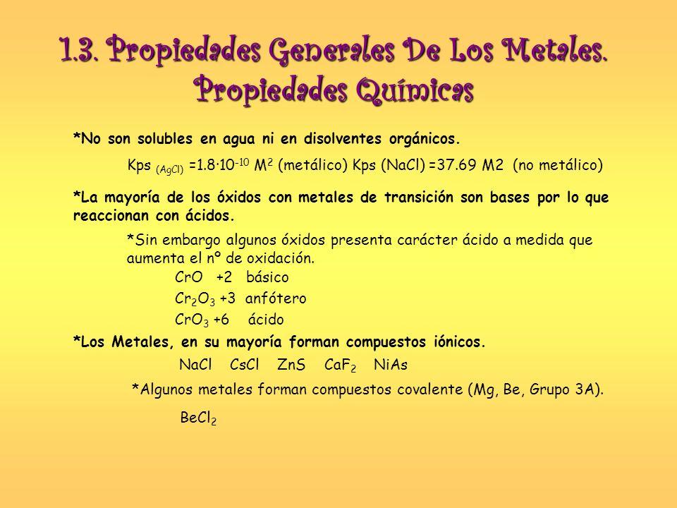 1.3. Propiedades Generales De Los Metales. Propiedades Químicas