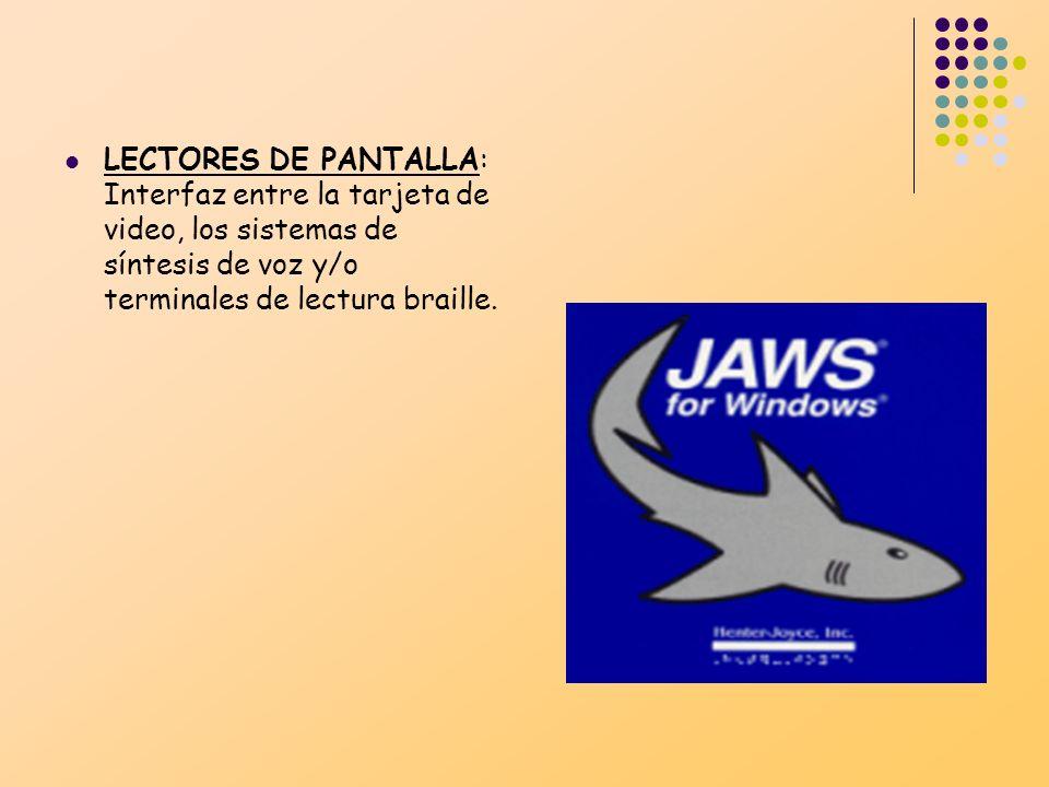 LECTORES DE PANTALLA: Interfaz entre la tarjeta de video, los sistemas de síntesis de voz y/o terminales de lectura braille.