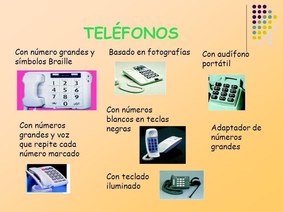 TELÉFONOS Con número grandes y símbolos Braille Basado en fotografías
