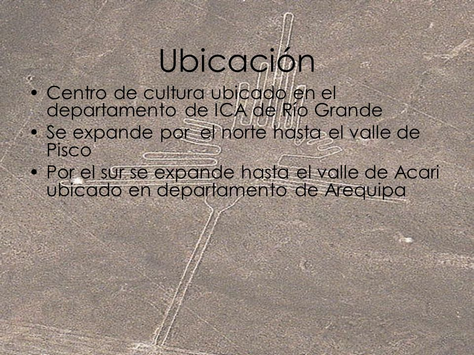 Ubicación Centro de cultura ubicado en el departamento de ICA de Río Grande. Se expande por el norte hasta el valle de Pisco.