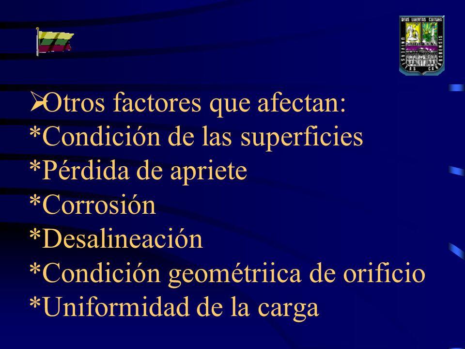 Otros factores que afectan:. Condición de las superficies