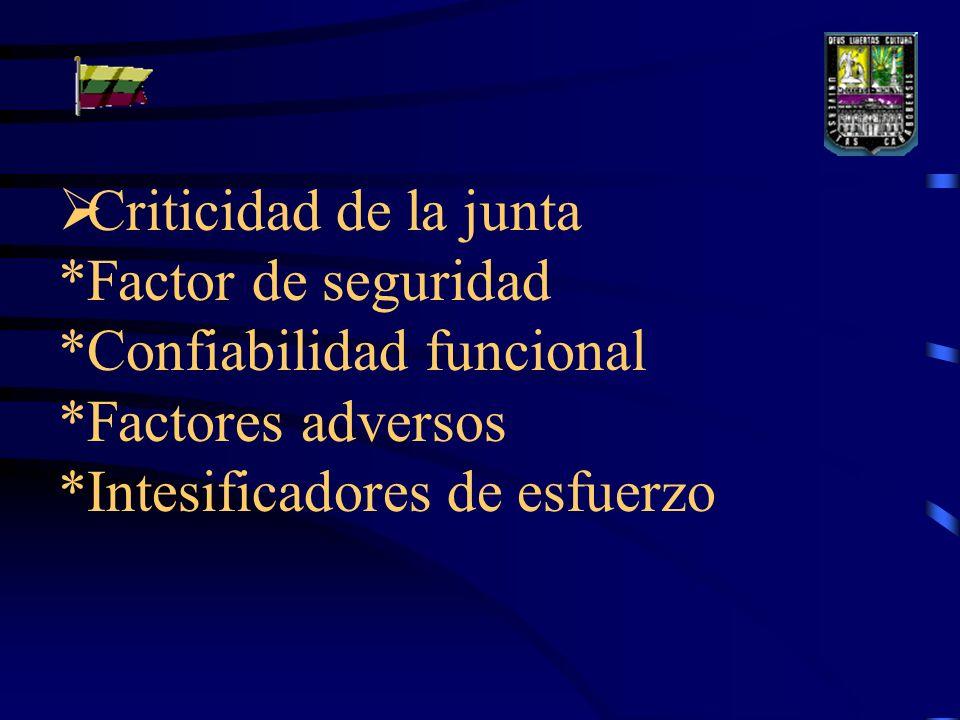 Criticidad de la junta. Factor de seguridad. Confiabilidad funcional